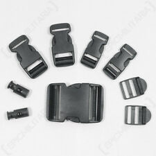 9 Piece Black Buckle Set - Replacement Spare Rucksack Webbing Belt Clips Plastic