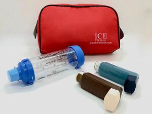 ICE Medical Red Inhaler Medication Bag - Epipen, Spacer, Travel or Home