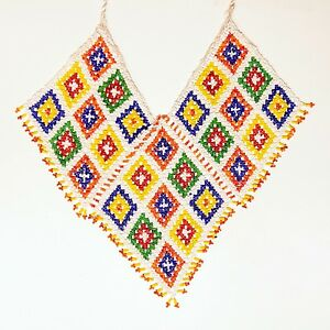 Belly Dance ATS tribal Beaded NECKLACE Afghani Kuchi 806h1