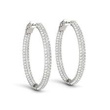 3.12 Ct Genuine Diamond Hoop Earrings 14K White Gold Stud Earring Clarity SI1