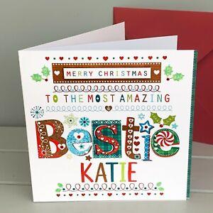 Bestie Christmas card, personalised special Christmas card, bestie, best friend
