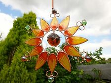 STUNNING SUN FLOWER ~  LARGE WIND CHIME SUN CATCHER ~ METAL GLASS & RESIN