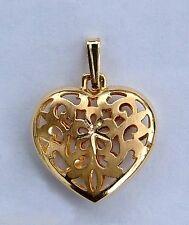 Filigree Puff Heart Pendant - w/ Diamond-cut Center Design - 14k Yellow Gold