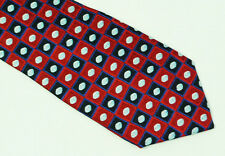 Pfizer Red Blue Geometric Patterned Silk Tie
