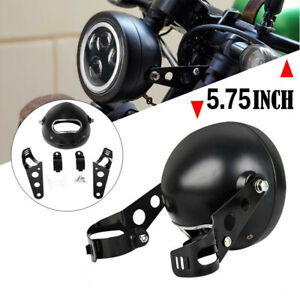 """5.75"""" Motorcycle Scooter Headlight Fairing Retro Light Cover Lamp + Mount Stent"""