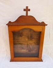 French Church Icone Reliquary Display Cabinet Showcase Cherry Wall Hanging 19 C
