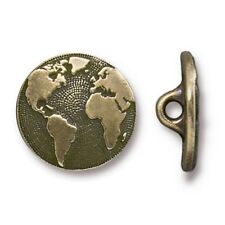 TierraCast Earth Button, Brass Ox Plated Lead Free Pewter (T719)