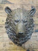 Brown Bears Head Animal Bust Large Wall Art Garden Sculpture Decorative Ornament