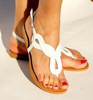 Womens Wide Braided Gladiator Flat Sandal Y-strap Thong Flip Flops Summer Style