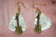 GUITAR PICK EARRINGS Pearl White & BRONZE BASS GUITAR GOLD FILLED EAR WIRES NEW!