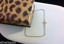 Small Cross Bracelet-14 KT Gold Plated Solid Sterling Silver 925-Sideways Set