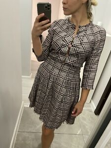 Chanel grey-pink check suit, S, authentic