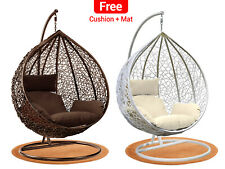 More details for hanging egg chair rattan outdoor indoor patio garden swing chairs with cushion