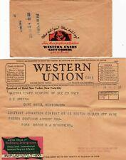 FORD WU WESTERN UNION TELEGRAM 1933 NY hotel Sent by FORD MOTOR & STP CINDEREla