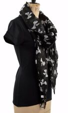 LADIES BLACK AUTUMN LIGHT SCARF CUTE BOWS KAWAII CHRISTMAS PRESENT SARONG HIJAB