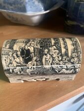 More details for unusual old antique bone jewellery trinket pill patch box-scrimshaw asian