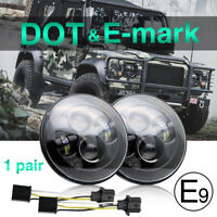 "2pcs 7"" LED headlights E -mark Approved for Land Rover Defender 07-18 Wrangler"