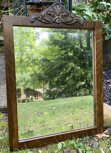 """Antique Wood Beveled Wall Mirror Carved Scallop Shell Applique 25.25x18.5"""" Joint"""