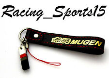 JDM MUGEN Leather Racing Keychain Phone Strap With Red Stitching New CIVIC HONDA