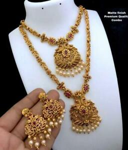 Indian Bollywood Choker Temple Jewelry Fashion Traditional Necklace Earrings Set