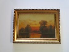 FINEST ANTIQUE GEORGE MCCONNELL PAINTING LANDSCAPE  TONALISM SUNSET NEW YORK