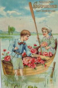"""""""Namenstag, Kinder, Boot, Klee"""" 1907 ♥ (8244)"""
