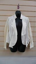 LADIES CREAM  WITH LACE PANEL DETAIL BIKER STYLE CASUAL JACKET SIZE10 BNWT