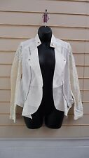 LADIES CREAM  WITH LACE PANEL DETAIL BIKER STYLE SUMMER JACKET SIZE10 BNWT