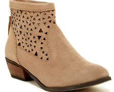 NEW MINNETONKA CUTOUT TAUPE ANKLE BOOTIES BOOTS SUEDE BOOTS WOMENS 8