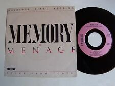 "MENAGE : Memory (Theme from the Musical CATS) 7"" 45T 1983 French CARRERE 13222"