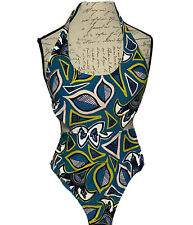 Aerie Women's Swimsuit sz S One Piece Geometric design on Teal Backless