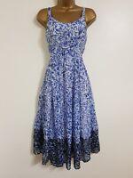 NEW Roman Originals 10-20 Paisley Floral Print Border Hem Blue White Midi Dress