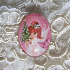 Pink X-mas Angel 30X40mm Glitter Unset Handmade Glass Art Bubble Cameo Cabochon