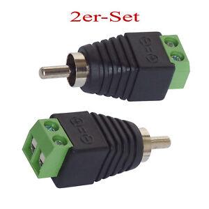 Cinch RCA-Stecker Adapter auf Klemmen 2er-Set -Terminalblock,Chinch Stecker (259
