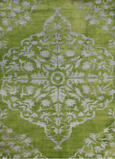 Transitional Hand Knotted Green Color 5X8 Feet Wool and Viscose  Area Rug