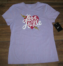 NIKE LOVE TO HUSTLE JUST DO IT GRAPHIC TEE T SHIRT TOP YOUTH GIRLS L LG VIOLET