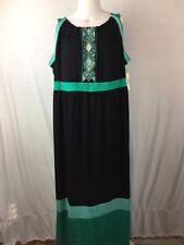 CATHERINES Long Maxi knit Dress Size 2X 22/24W NWT black/green sleeveless *Flaw