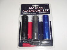 3 Pack Ultra Bright 9 LED Aluminum Flashlight with Batteries