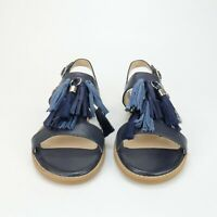 Hush Puppies Chrissie Womens Navy Leather Tassel Slingback Sandal Flats Size 7 W