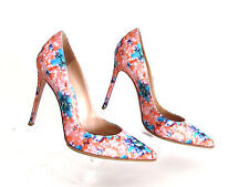 DESIGNER GIANVITO ROSSI MULTI-COLOR WOVEN FLORAL PRINT POINTY TOE HIGH HEELS 9.M