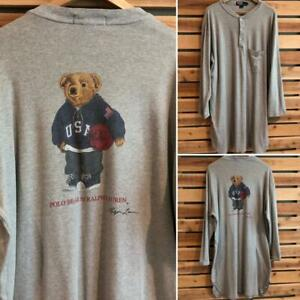 Rare VTG 90s Gray Polo Ralph Lauren USA Bear Basketball Long Sleep Shirt L