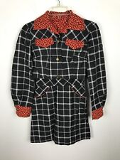 Vintage 1970s Kids Girls Dress Ensemble Jacket Red Gray Floral Plaid Jacket Sz 5