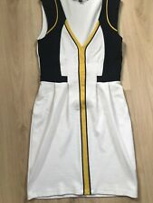French Connection Colour Block Pencil Dress Size 8 - Ivory/Yellow/Black Smart