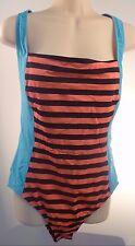 TYR Huntington Beach Pink Striped 1 one piece Swimsuit XL Deep Racer Back Cute