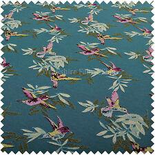 New Blue Green Kingfisher Bird Animal Pattern Fabric Chenille Upholstery Fabric