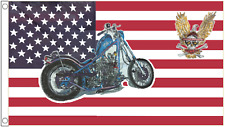 Motorcycle and Eagle United States of America USA 5'x3' Flag