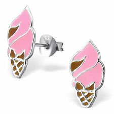 Childrens Girls Sterling Silver Ice cream cone Ear Studs Earrings 925