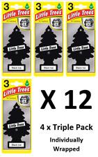 12 X Magic Tree Little Trees Car Air Freshener - Black Ice ( 4 x 3 Pack)