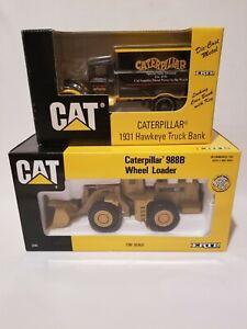 ERTL 1/50 Caterpillar 988B Wheel Loader & 1/34 1931 Hawkeye Truck Bank In Boxes