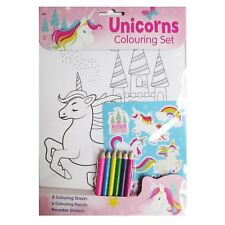 Unicorn Colouring Set with Stickers A4 Kids  Creative Activity Book